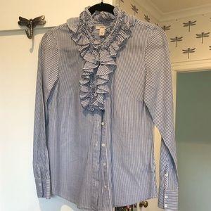 Jcrew rufffled blouse blue & white striped SZ 2
